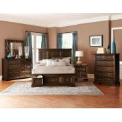 Eunice Platform Storage Bedroom Set 4 Pc - Espresso