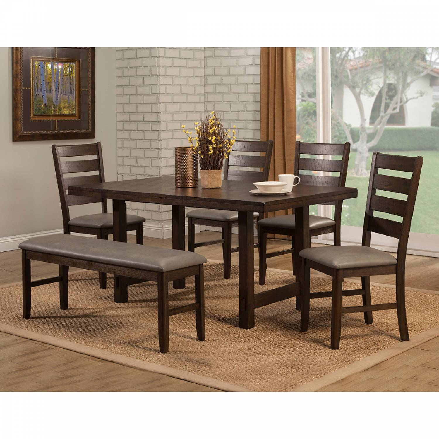 2929 Alpine Furniture 2929-01 Emery 6PC SETS Dining Table + 4 ... on granite dining table with bench, kitchen bench style tables, pub table with bench, kitchen dinette sets, kitchen table bench booth, kitchen table set rustic, kitchen bench set furniture, kitchen chairs with bench, small dining table with bench, kitchen table plans, kitchen bench table seat set, oval table set with bench, kitchen corner bench, drop leaf table with bench, kitchen table and chairs sets,