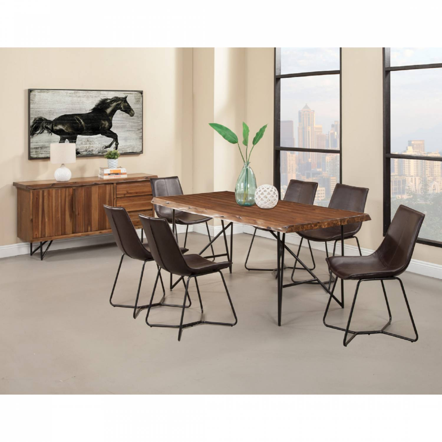Super 1968 Alpine Furniture 1968 01 Live Edge 7Pc Sets Dining Table 6 Dining Chair Dark Brown Short Links Chair Design For Home Short Linksinfo
