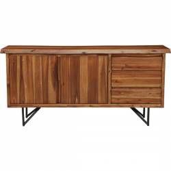 1968 Alpine Furniture 1968-06 Live Edge Server Buffet Cabinet Light Walnut Finish