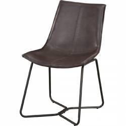 1968 Alpine Furniture 1968-03 Live Edge Dining Chair Dark Brown Bonded Leather