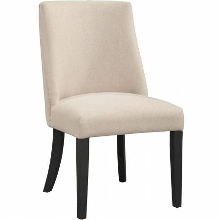 1968 Alpine Furniture 1968-02 Live Edge Parson Dining Chair Cream Fabric