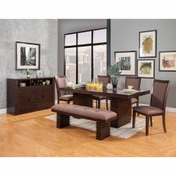 6084 Alpine Furniture 6084-01 Trulinea 6PC SETS Dining Table + 4 Chairs + Bench