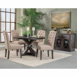 1468 Alpine Furniture 1468-25 Newberry 5PC SETS Round Dining Table + 4 Chairs