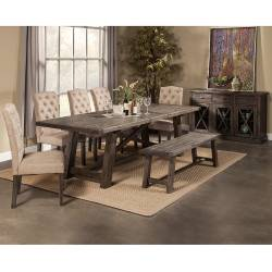 1468 Alpine Furniture 1468-22 Newberry 7PC SETS Dining Table + 5 Chairs + Bench