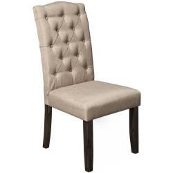 1468 Alpine Furniture 1468-23 Newberry Button Tufted Parson Chairs Salvaged Grey Legs