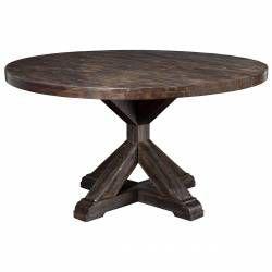 1468 Alpine Furniture 1468-25 Newberry Round Dining Table Salvaged Grey Acacia Pedestal Legs
