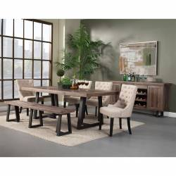 1568 Alpine Furniture 1568-01 Prairie 6PC SETS Dining Table + 4 Chairs + Bench