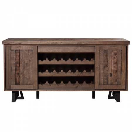 1568 Alpine Furniture 1568-06 Prairie Sideboard Wine Holder Sliding Doors Reclaimed Natural on Black Base