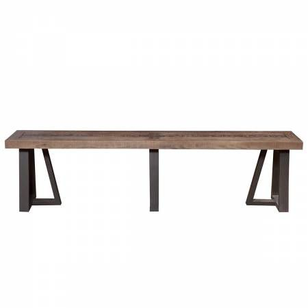 1568 Alpine Furniture 1568-03 Prairie Dining Bench Reclaimed Natural Pine Top on Black Base