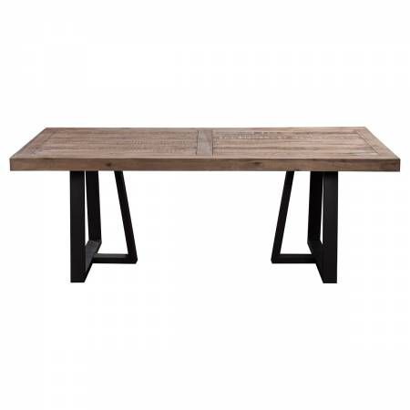 1568 Alpine Furniture 1568-01 Prairie Rectangular Dining Table Reclaimed Natural Pine Top on Black Base