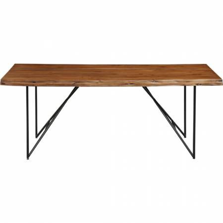 "1968 Alpine Furniture 1968-01 Live Edge 77"" Solid Acacia Dining Table Light Walnut Finish"