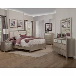 1519 Alpine Furniture 1519-01Q Silver Dreams 4PC SETS Queen Panel Bed Upholstered Mirror Accents Headboard