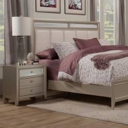 1519 Alpine Furniture 1519-02 Silver Dreams 2 Drawer Nightstand Mirror Textured Accents