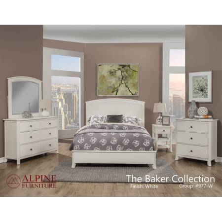 977-W Alpine Furniture 977-W-01Q Baker 4PC SETS Queen Panel Bed White Finish
