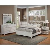 955 Alpine Furniture 955-01Q Potter 4PC SETS Queen Panel Bed White Cross Back Open Headboard Design