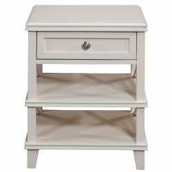 955 Alpine Furniture 955-02 Potter Nightstand 1 Drawer 2 Open Shelves White Finish
