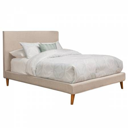1096 Alpine Furniture 1096Q Britney Queen Upholstered Platform Bed Light Gray Linen on Acorn Legs
