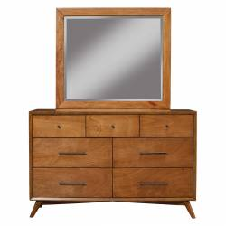 966 Alpine Furniture 966-03 Flynn Mid Century Modern 7 Drawer Dresser Acorn Finish