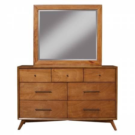 966 Alpine Furniture 966-03 Flynn Mid Century Modern 7 Drawer Dresser Acorn Finish
