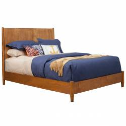 966 Alpine Furniture 966-01Q Flynn Mid Century Modern Queen Panel Bed Acorn Finish