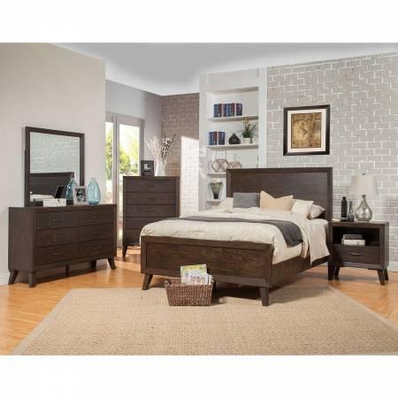 5074 Alpine Furniture 5074-01Q Alcott 4PC SETS Queen Panel Bed Tobacco Finish