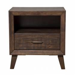 5074 Alpine Furniture 5074-02 Alcott Night Stand Drawer Shelf Tobacco Finish