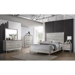 222701F-S4 4PC SETS Ramon Full Panel Bed  + Nightstand + Dresser + Mirror