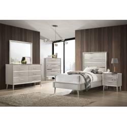 222701T-S4 4PC SETS Ramon Twin Panel Bed + Nightstand + Dresser + Mirror