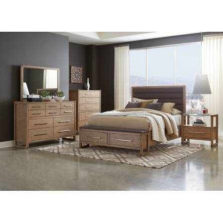 222850KW-S4G 4PC SETS California King Bed + Nightstand + Dresser + Mirror