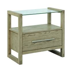 222856 Smithson 1-Drawer Nightstand With Glass Top Grey Oak