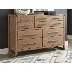 222853 Smithson 10-Drawer Rectangular Dresser Grey Oak