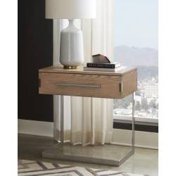222852 Smithson 1-Drawer Nightstand With Metal Base Grey Oak