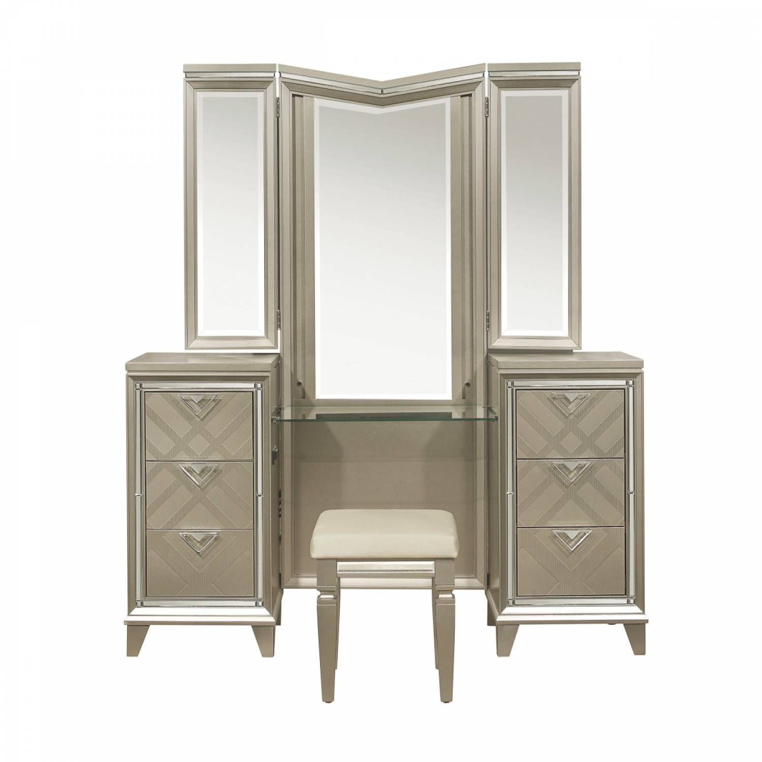 1522 15wf Vanity Dresser With Mirror And Led Lighting