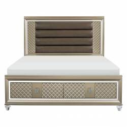 1515-1* Queen Platform Bed with LED Lighting and Storage Footboard