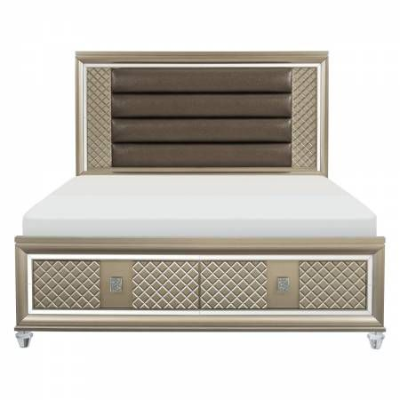 1515K-1CK* California King Platform Bed with LED Lighting and Storage Footboard