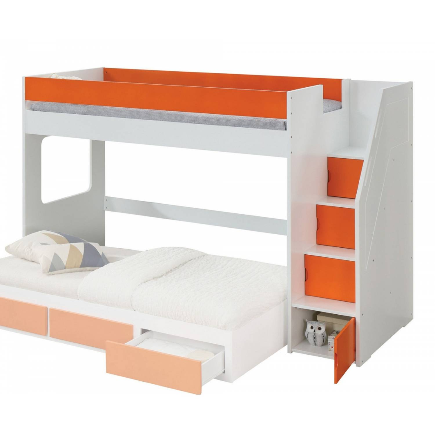 Image of: 37460 Lawson White Orange Wood Twin Loft Bed With Storage Ladder
