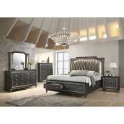 27277EK-4PC 4PC SETS Kaitlyn Eastern King Bed in PU & Metallic Gray