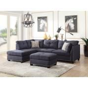 Laurissa Sectional Sofa & Ottoman (2 Pillows) in Dark Blue Linen