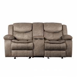 8230FBR-2 Double Glider Reclining Love Seat with Center Console Bastrop