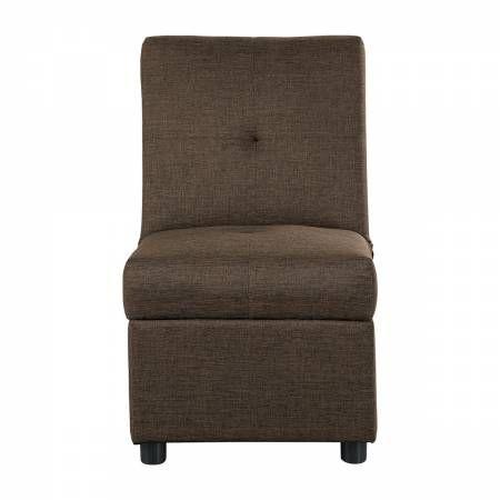 4573BR Storage Ottoman/Chair, Brown Denby