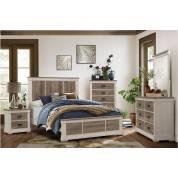 1677K-EKGr Arcadia Eastern King Bedroom Set - White Framing and Variegated Gray Printed Faux-Wood Grain Veneer