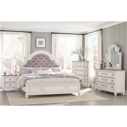 1624KW-CKGr Baylesford California King Bedroom Set - Antique White Rub-Through Finish