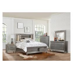 1616K-CKGr Tamsin Platform California King Bedroom Set - Silver-Gray Metallic