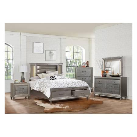 1616-Gr Tamsin Platform Queen Bedroom Set - Silver-Gray Metallic