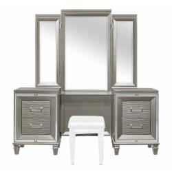 1616-15 Tamsin Vanity Dresser with Mirror - Silver-Gray Metallic