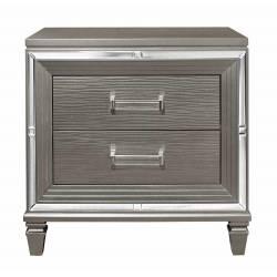 1616-4 Tamsin Night Stand - Silver-Gray Metallic