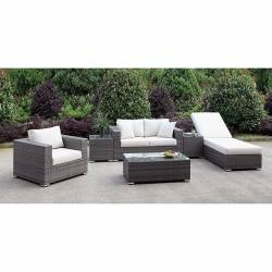 CM-OS2128-SET21 SOMANI LOVE SEAT + CHAIR + ADJ CHAISE + 2 END TABLES + COFFEE TABLE