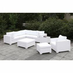 CM-OS2128WH-SET18 SOMANI II L-SECTIONAL + CHAIR + 2 OTTOMANS