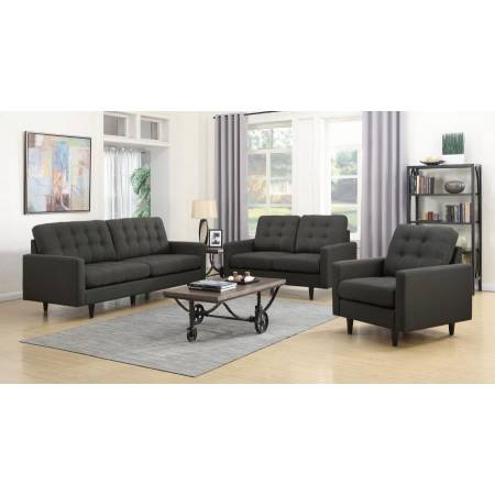 Kesson Mid-Century Modern Brown Three-Piece Living Room Set (SOFA + LOVE+ CHAIR) 505374-S3